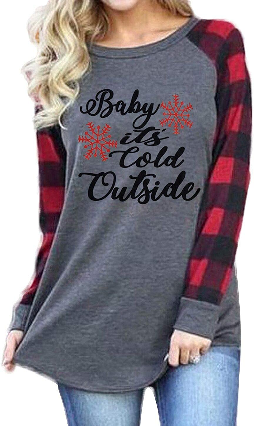 Plus Size Baby Its Cold Outside Christmas T Shirt Women Long Sleeve Plaid Splicing Tops Blouse