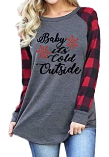 71015e269b7 Plus Size Baby It s Cold Outside Christmas T Shirt Women Long Sleeve Plaid Splicing  Tops Blouse