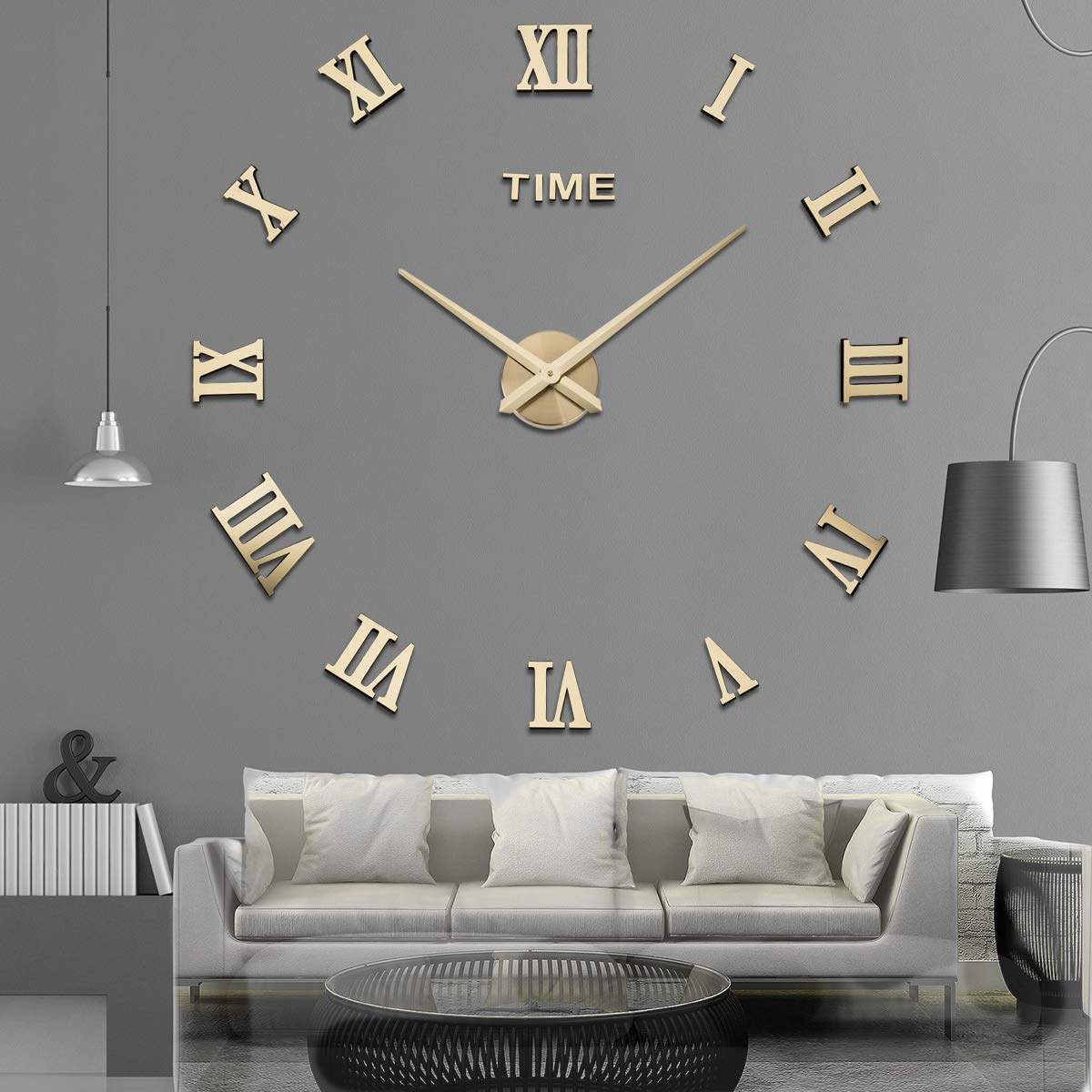 Amazon.com: Aililife 3D DIY Wall Clock Decor Sticker Mirror Frameless Large DIY Wall Clock Kit for Home Living Room Bedroom Office Decoration (Gold): Home & ...