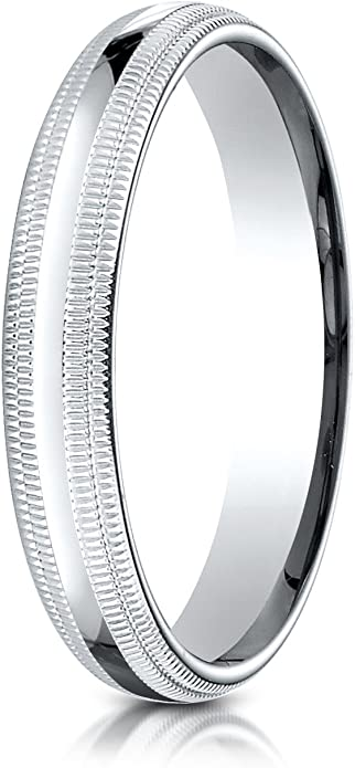 Benchmark 10K White Gold 4mm Slightly Domed Standard Comfort-Fit Wedding Band Ring with Milgrain