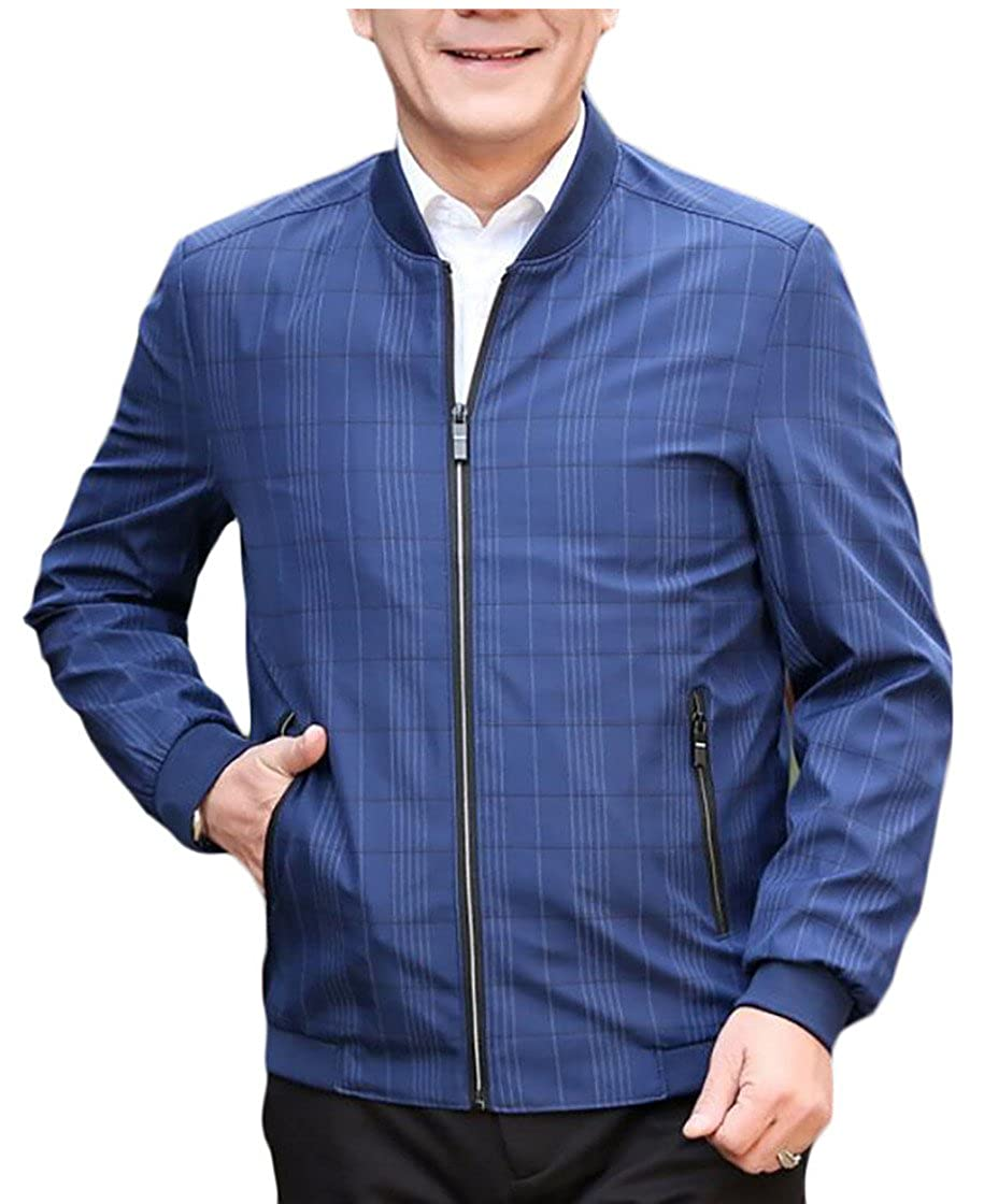 Beloved Mens Classic Long Sleeve Zipper Stand Collar Slim Fit Plus-Size Spring Jacket Jackets