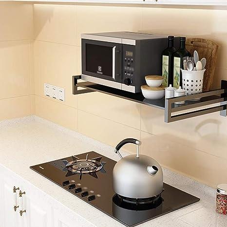 Amazon De Wxp Kitchen Furniture Mikrowelle Rack Kuche Edelstahl Einziehbare Wand Reiskocher Regal Home Schwarz Kuchenschranke Und Besteckschranke