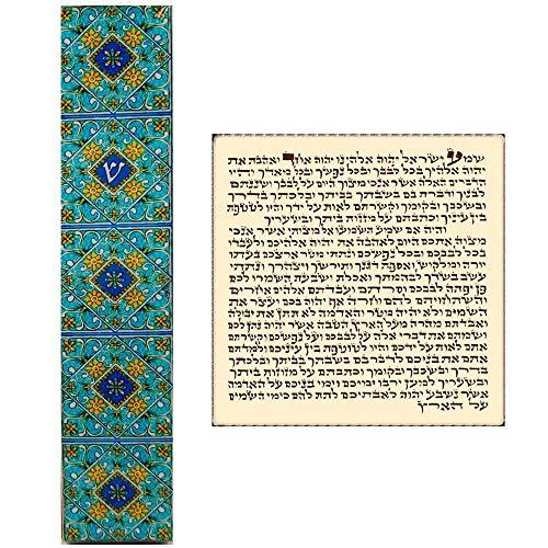 Door Floral Case - Talisman4U Jewish Mezuzah Case with Scroll Blue Floral Ornament Israel Judaica Wood Door Mezuza 5 Inch