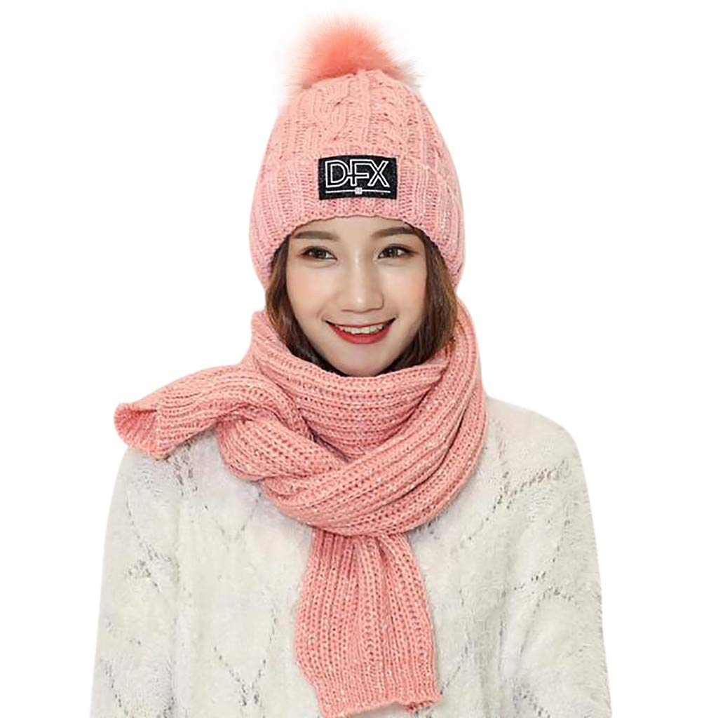 Adult Womens Men Christmas 2 Pcs Baggy Slouchy Thick Knit Hat Solid Scarf