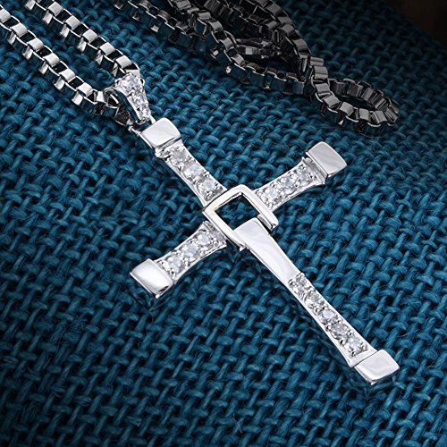 OCARLY 925 Fast and Furious Dominic Toretto's Cross Pendant Necklace Vin Diesel, 925 Cross Necklace Pendant Jewelry by OCARLY (Image #2)