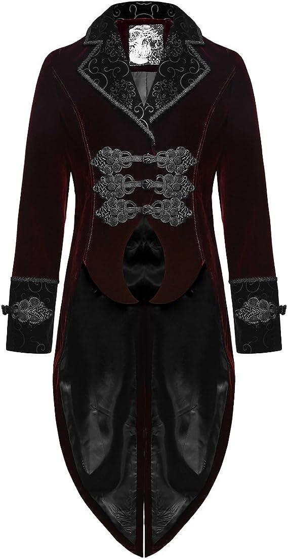 Vintage Style Menswear UK 1920s, 1930s, 1940s, 1950s, 1960s, 1970s Punk Rave Mens Tailcoat Jacket Red Velvet Gothic Steampunk Aristocrat Regency £114.99 AT vintagedancer.com