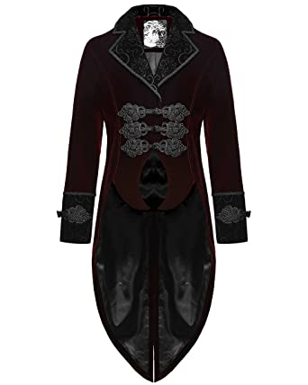 b5520da5791d Punk Rave Mens Tailcoat Jacket Red Velvet Gothic Steampunk Aristocrat  Regency: Amazon.co.uk: Clothing