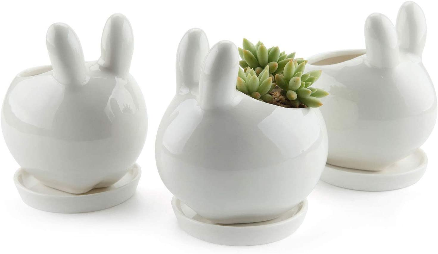 T4U Ceramic Pot White, Rabbit Planter Succulent Plant Cactus Flower Porcelain Holder Container Outdoor Indoor Home Office Decoration with Round Tray – Pack of 3