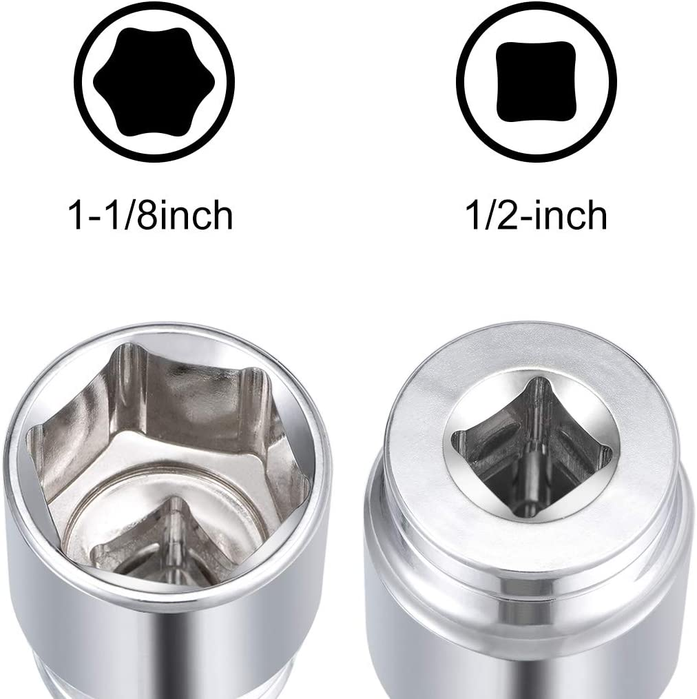 uxcell 1//2 Inch Drive 6 Point Shallow Socket 13//16 Inch Cr-V Steel 2 Pcs