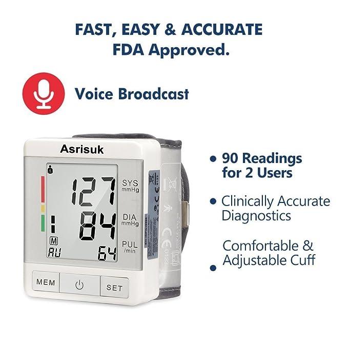 Asrisuk Monitor de Presión Sanguínea Aprobado por la FDA Lecturas Precisas Capacidad de Memoria Modos de Muñequera Ajustable Pantalla LCD Pantalla Grande ...