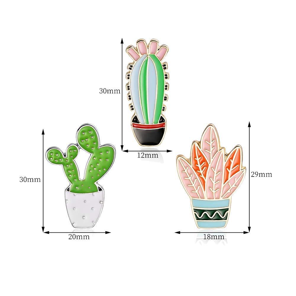 Ogquaton Broches 3 Unids//Set Dibujos Animados Cactus Planta Esmalte Insignia Broche Pin Ropa Joyer/ía Decoraci/ón Rentable