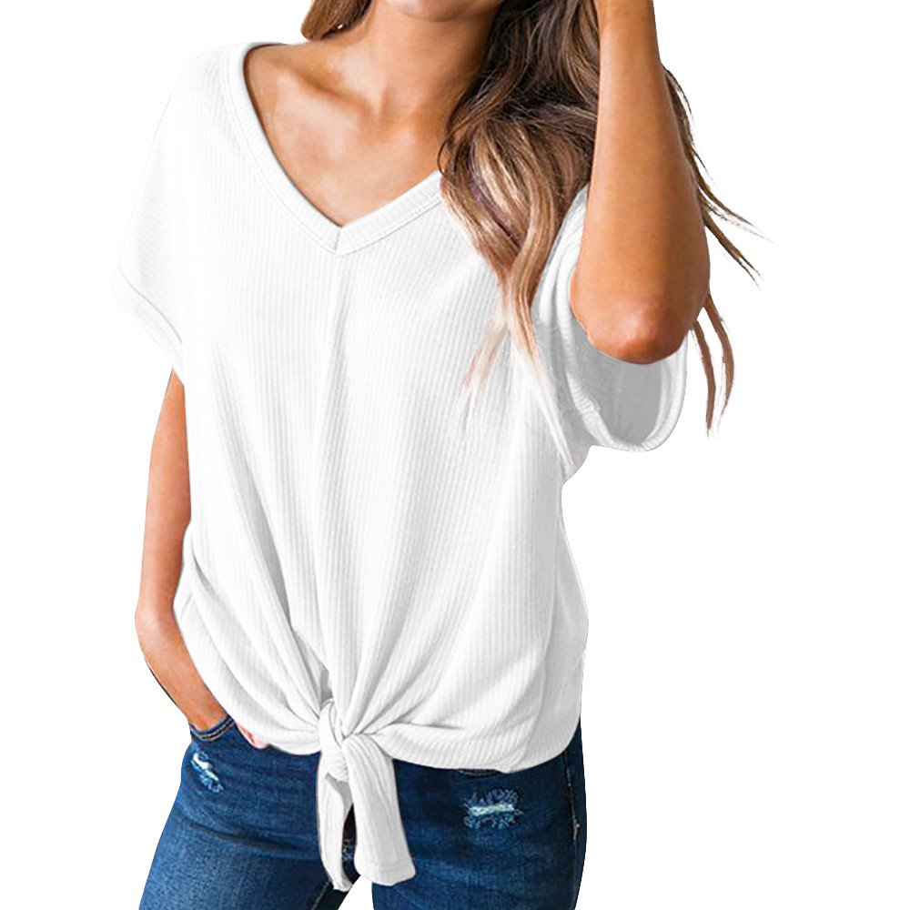 Toimoth Womens Casual Basic Knot Tie Front Loose Fit Half Sleeve Tee Top T-Shirt Blouse (S, White)
