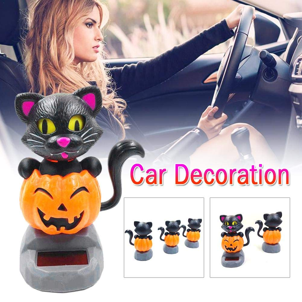 Solar Power Cat Holding Pumpkin Bobble Head Figures For Halloween Car Decoration Urben Life Bobble Head Figures For Cars