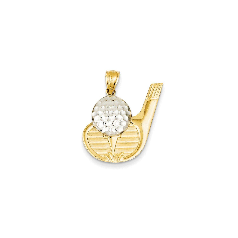 Roy Rose Jewelry 14K Yellow Gold and Rhodium Golf Pendant