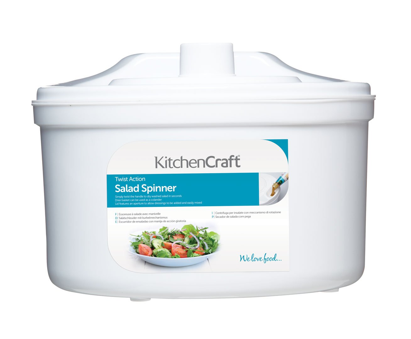 KitchenCraft Plastic Salad Spinner / Dresser, 22.5 cm (9