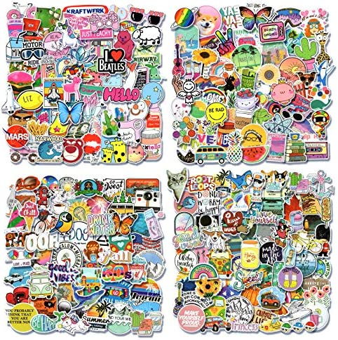 Laptop Aesthetic Vinyl Stickers for Children,Teens,Adults Water Bottle 5-500Pcs//Pack 5 PCS Stickers Pack Cute Waterproof Stickers for Flask Phone