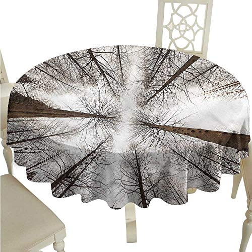 Wood Woodland Bleach Panorama - Round Tablecloth Wood Forest,Panorama Woodland Silhouette,for Bistro Table