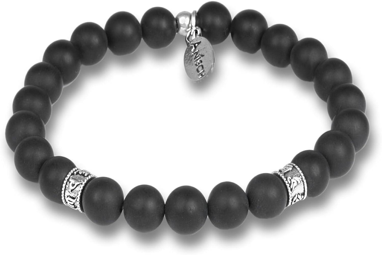 Anisch de la Cara Hombre Pulsera Onyx - Pulsera de Piedras Preciosas de Cuentas Mantra para Hombres con Plata de Ley, 8 mm Mantra Beads - Arte no 93350-c
