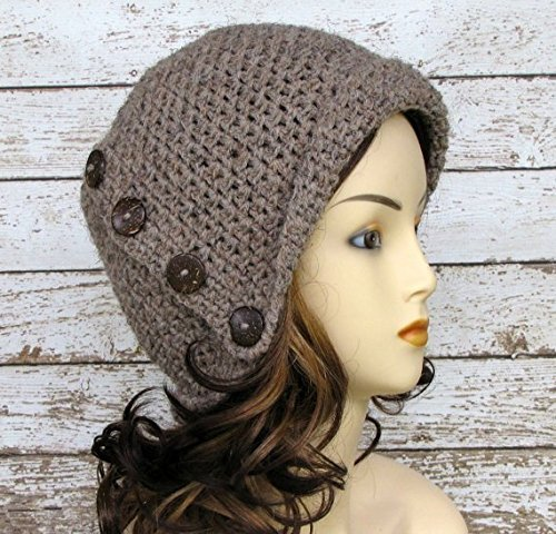 Wool Hand Crocheted - Hand Crocheted Taupe Wool Blend Woman's Cloche