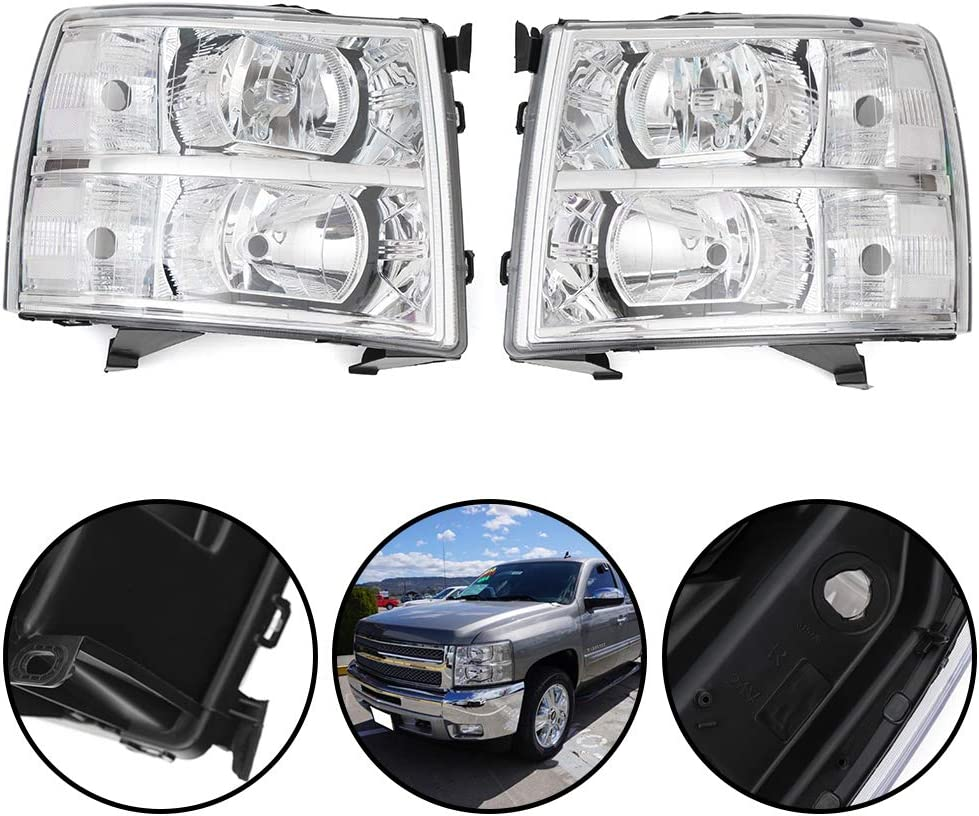 G-PLUS headlight replacement lamp for Chevy Silverado (07-14) Chrome Housing