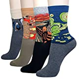 KONY Women's 4 Pack Cotton Art Painting Patterned Casual Novelty Crew Socks, Artist Masterpiece Design - One Size 6-9 (Painting 2 - 4 Pairs)