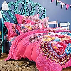 LELVA Pink Flower Bohemian Style Bedding Set Boho Style Bedding Set Boho Duvet Cover Set Cotton Bedding Set Queen King Size 4pcs (King)