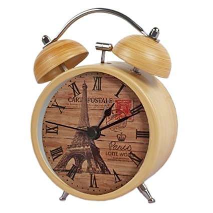 Rise N Shine Vintage Twin Bell Wood Color Table Alarm Clock With Night Led Light - Rnsalrm017 Alarm Clocks at amazon