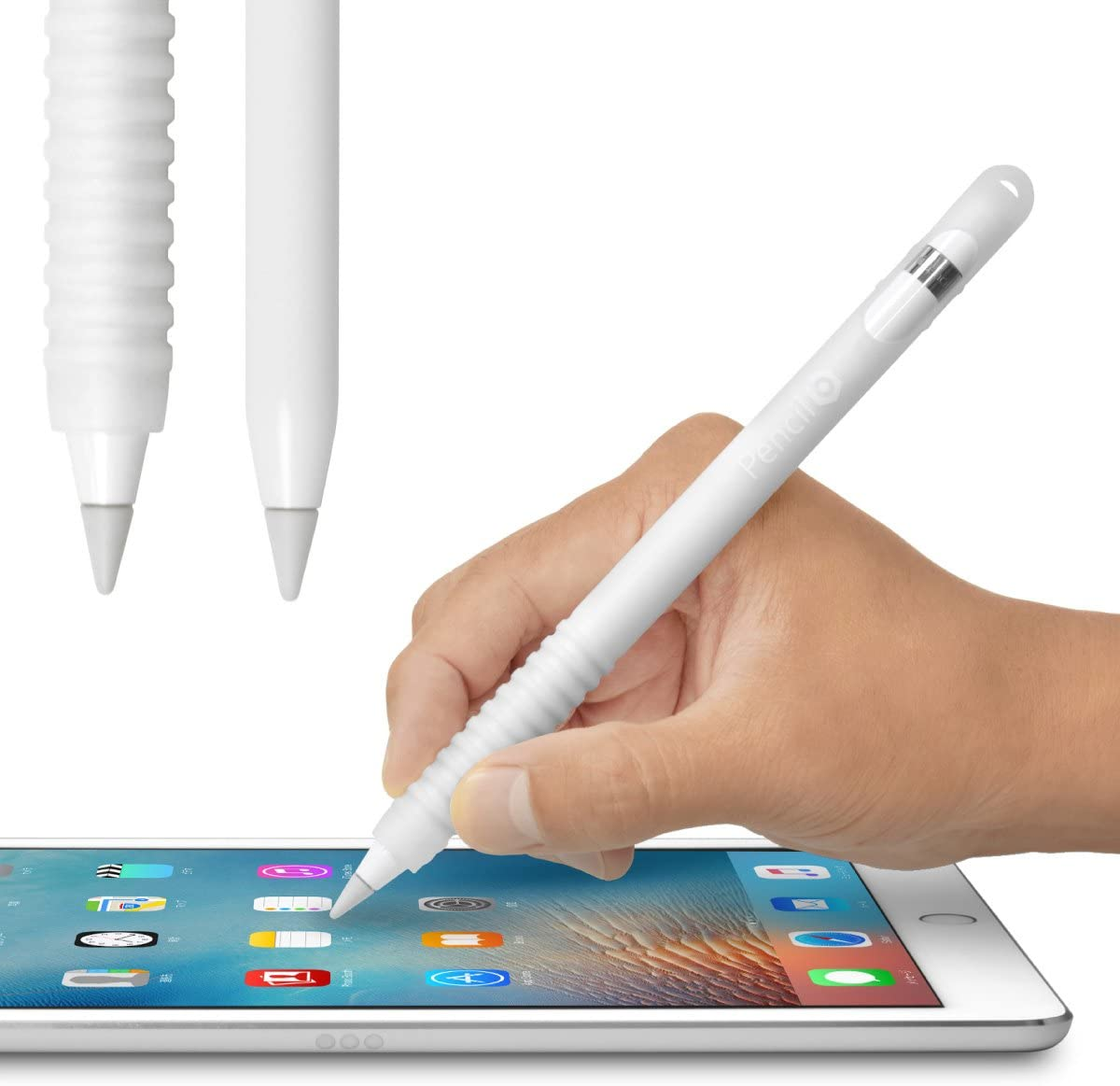 Pencil Barrier (クリアーホワイト) Apple Pencil を保護しグリップ力をアップする シリコン製カバー 充電時のキャップ紛失を防ぐ収納ヘッド搭載 ペンシルバリア アップルペンシル 用 JTT Online