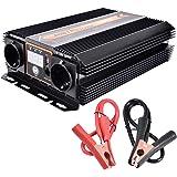 WZTO 1000W Inversor de Corriente DC 12V a AC 220V-240V Convertidor de Corriente con 1 Puertos USB DC 5V/2.1A y 2 AC Toma Enchufe, Inversor para Coche Camping Camión RV (1000W~2000W)