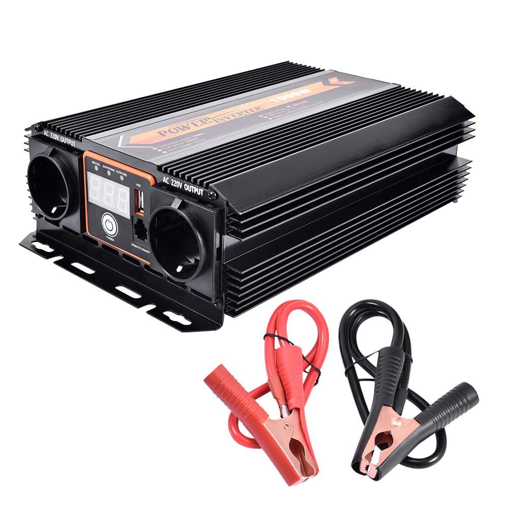 WZTO Power Inverter 1000W, Convertitore di Potenza DC 12V a Uscita AC 220V Invertitore di Corrente con Porte USB Trasformatore di Potenza per Laptop, Computer, Frigorifero, iPad