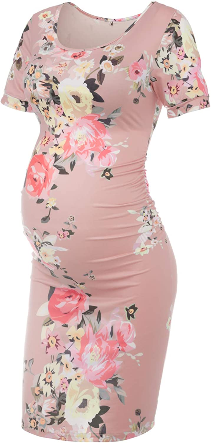 Musidora Solid Color & Floral Maternity Dress Ruched Side Bodycon Dress for  Casual Wear or Baby Shower