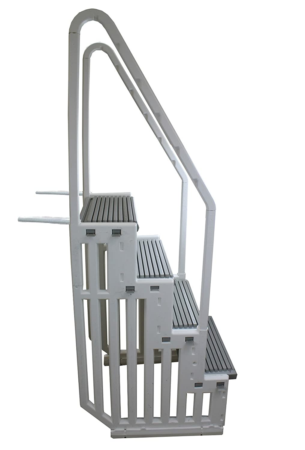 Above Ground Pool Ladders-Confer Staircase Style Above Ground Pool Steps Warm Grey - Step - 1-X