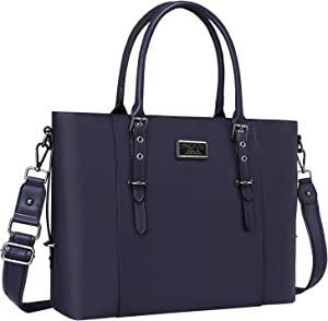 MOSISO PU Leather Laptop Tote Bag for Women (Up to 15.6 inch), Navy Blue
