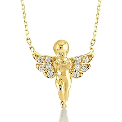 f674b12f4a0e Gelin 14k Yellow Gold Guardian Angel Pendant Necklace with Cubic Zirconia -  Fine Jewelry Best Gifts for Girlfriend