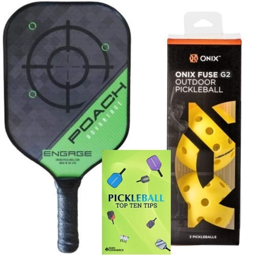 Engage Poach Advantage Composite Pickleball Paddle & Onix 3-Pack Fuse G2 Pickleball Balls & Free Pickleball Tips - Premier Pickleball Set for Beginner and Pro Players (Lightweight, Green)