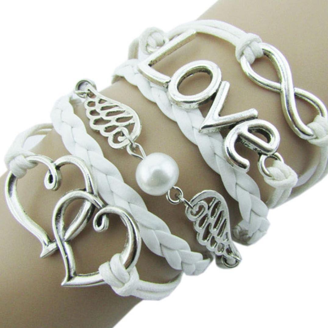 Women Girls Teen Leather Rhinestone Wrap Bangle Bracelet Cuekondy Bohemian Cuff Magnetic Clasp Wristband