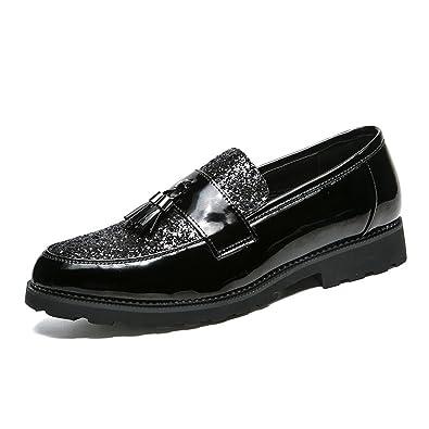 LYZGF Hommes Jeunes Saisons Affaires Loisirs Mode Dentelle Chaussures En Cuir,Black-39