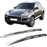 Roof Rack Fits 2003-2010 Porsche Cayenne | Rail Mount Aluminum Silver Roof Rack Cross