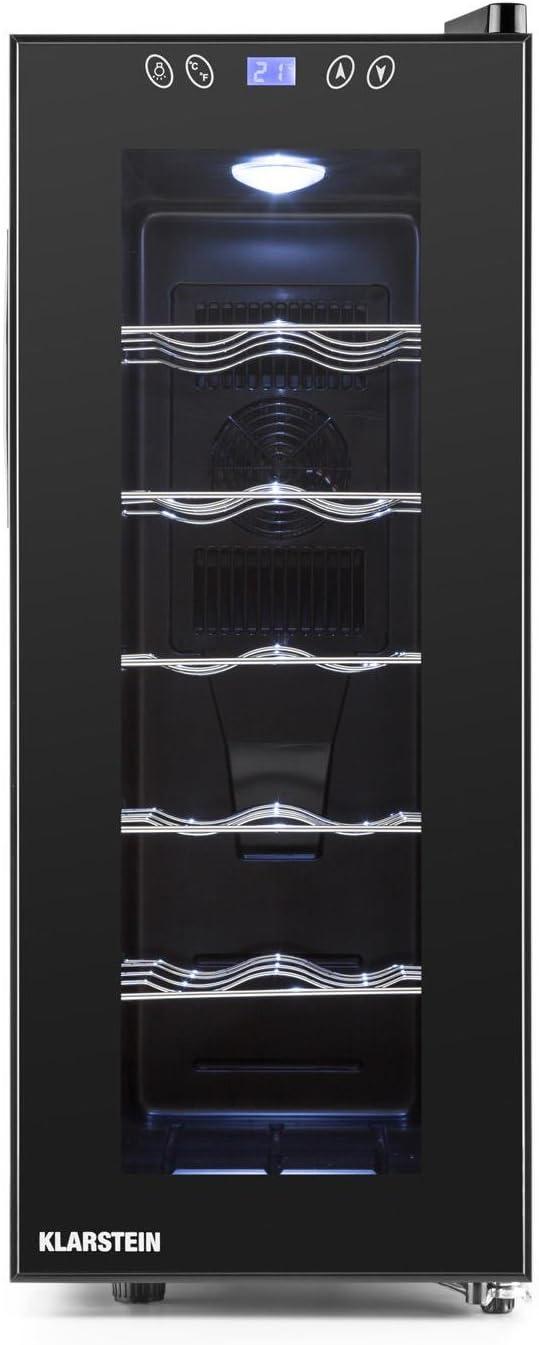 Klarstein Vinamora - Nevera para vinos, Nevera para Bebidas, Refrigerador gastronomía, 35 L, 12 Botellas, 5 Baldas de Acero Inoxidable, Iluminación LED, Módulo Independiente, Negro