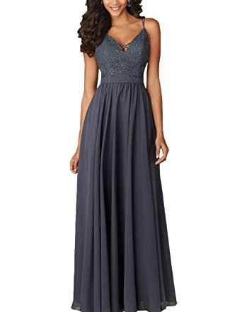 Yilis A-line Straps Beach Evening Prom Dress Lace Long Wedding Bridesmaid Dress (Dark
