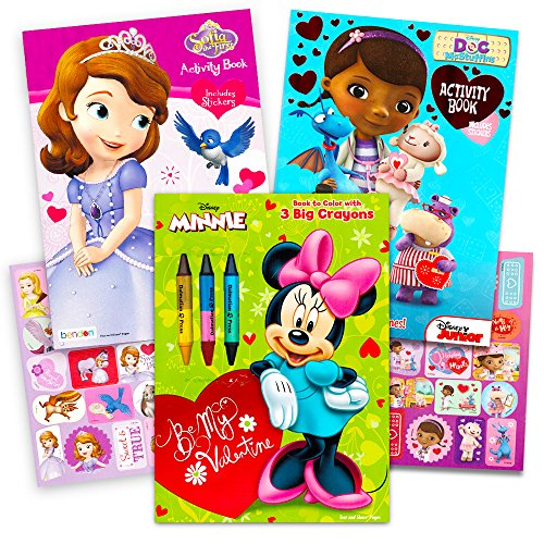 Disney Valentines Day Coloring Books Super Set with Stickers (3 Books Featuring Minnie Mouse, Doc McStuffins and More!) (Valentine's Day Gifts For Toddlers)