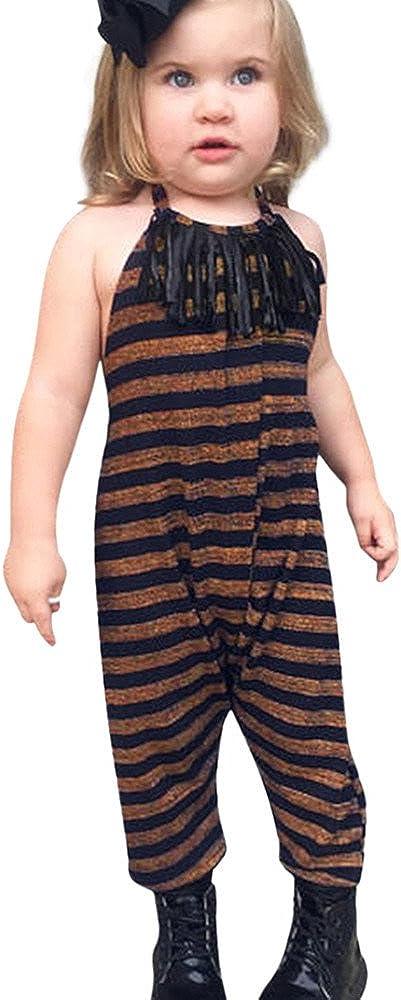 Tanhangguan Baby Girl Jumpsuit Romper Kids Straps Striped Tassel Jumpsuit Romper Jumper Clothes Outfits Sunsuit