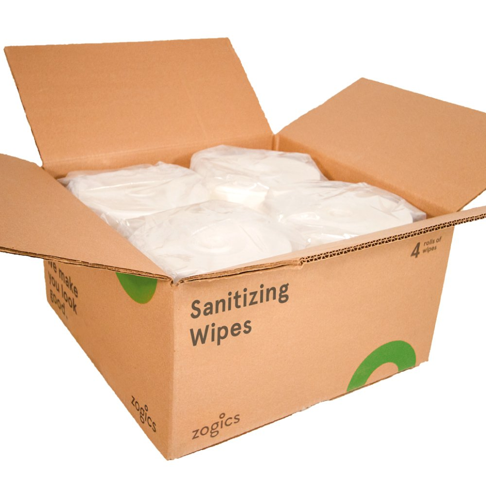Zogics Sanitizing Wipes, FDA Approved Surface and Hand Cleaning Wipes (2,000 Wipes/Roll, 4 Rolls/Case)