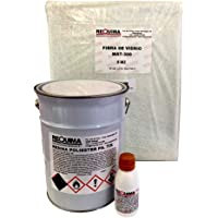 Résine de polyester 5kg pour réparations Fibre 5m²,résine de polyester 5kg et catalyseur de peroxyde 100g