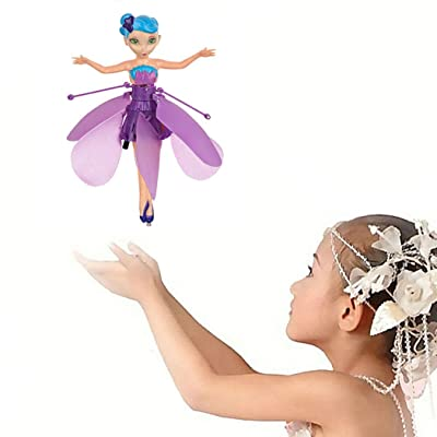 2019 Flying Fairy Princess Doll Hand Infrared Induction Control Dolls, Flying Fairy Dolls Flying Drone RC Toy for Boys and Girls (Purple)