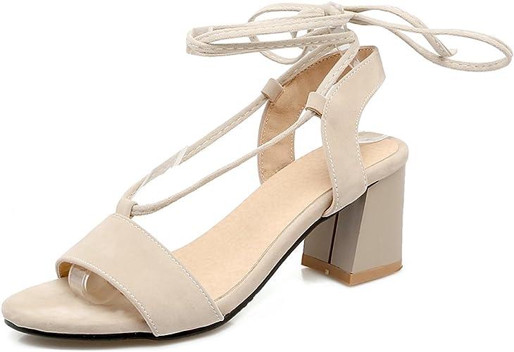 6CM à de Chaussures Ouvert Lacets Cheville Sandales Femme Tour Suède Eté Bout Talon Haut OALEEN lK1FJ5c3uT