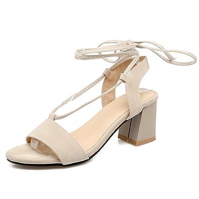 fd28254472e04 OALEEN Sandales Bout Ouvert Femme à Lacets Tour de Cheville Suède Talon  Haut 6CM Chaussures Eté