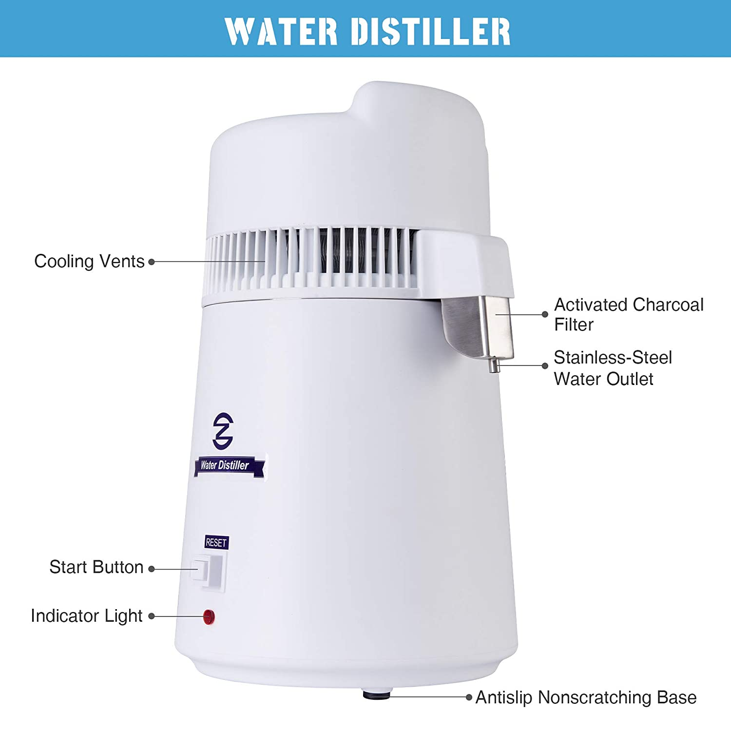 White Countertop Distiller for Kitchen or Lab Electric Water Purifier for Home Water Distilling 6 Litre Distilled Water Machine with 6 Litre Jug CO-Z 900W Pure Water Distiller