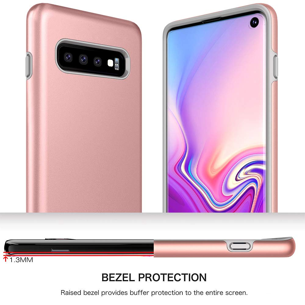 Galaxy S10 Case, Androgate [Pearl Series] Hybrid Matte Protective Back Cover Bumper Case for Samsung Galaxy S10, Pink Gold