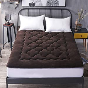 WYMNAME Foldable futon Tatami Mattress, Flannel Bed Mattress Protective pad Mattress Topper for Home Bed Apartment Student Dormitory-Brown 90x200cm(35x79inch)